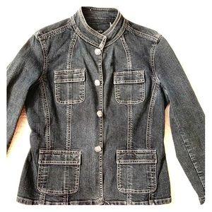 Tahari Denim Jacket With Gemstone Buttons Size Med
